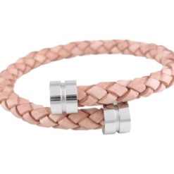 Stainless Steel 6mm Light Tan Leather Bracelet 19cm