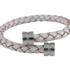 Stainless Steel 6mm White Leather Bracelet 19cm