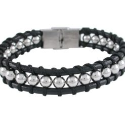 Stainless Steel 14mm Plaited Black Leather & Steel Ball Bracelet