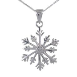 Sterling Silver 20mm White Cubic Zirconia Snowflake Necklet 40-45cm
