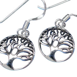 Sterling Silver 12mm Round Tree Of Life Drop Earrings
