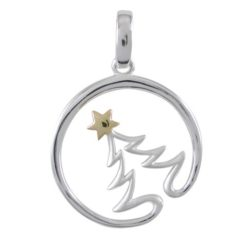 Sterling Silver  & Gold Plated 21mm Xmas Tree In Circle Pendant