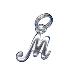 Sterling Silver 10mm Script Initial *m* Charm With Split Ring
