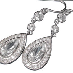 Sterling Silver 31x11mm Teardrop White Cubic Zirconia Drop Earrings