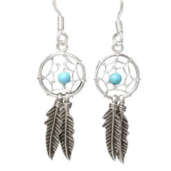Sterling Silver 27x11mm Blue Turquoise Double Feather Dream Catcher Drop Earrings