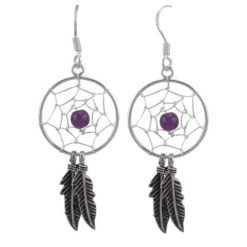 Sterling Silver 34x18mm Amethyst Double Feather Dream Catcher Drop Earrings