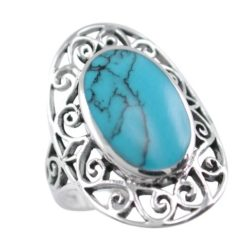 Sterling Silver 24mm Oval Blue Turquoise Filigree Ring