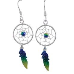 Sterling Silver 32x14mm Blue & Yellow Anodised Single Feather Dream Catcher Drop Earrings