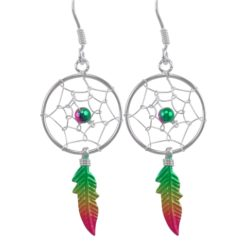 Sterling Silver 34x16mm Green, Yellow & Red Anodised Single Feather Dream Catcher Drop Earrings