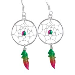 Sterling Silver 35x18mm Green, Yellow & Red Anodised Single Feather Dream Catcher Drop Earrings