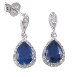 Sterling Silver 21x8mm Blue Teardrop Cubic Zircoina Stud Earrings