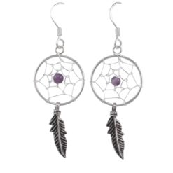 Sterling Silver 34x16mm Amethyst Single Feather Dream Catcher Drop Earrings