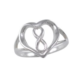 Sterling Silver 13mm Heart & Infinity Ring