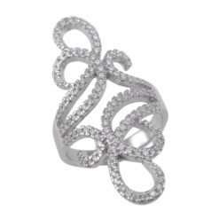 Sterling Silver 34mm Micro Set White Cubic Zirconia Scroll Ring