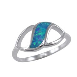 Sterling Silver 8mm Synthetic Opal Leaf Shape Ring