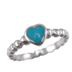 Sterling Silver 6mm Blue Turquoise Heart Ring (mixed Finger Sizes)