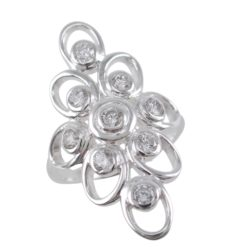 Sterling Silver 31mm White Cubic Zirconia Ring
