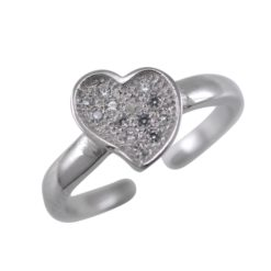 Sterling Silver 7mm White Cubic Zirconia Heart Toe Ring