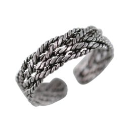 Sterling Silver 4mm Oxidised Plaited Chain Toe Ring