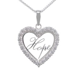 Sterling Silver 22mm White Cubic Zirconia Heart *hope* Necklet 40-45cm