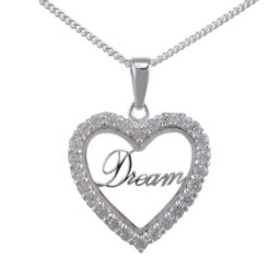 Sterling Silver 22mm White Cubic Zirconia Heart *dream* Necklet 40-45cm