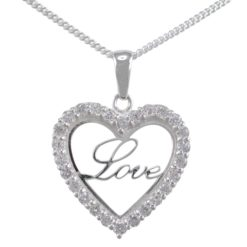 Sterling Silver 22mm White Cubic Zirconia Heart *love* Necklet 40-45cm