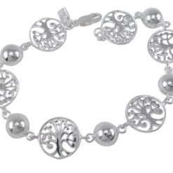 Sterling Silver 14mm Tree Of Life & 8mm Ball Bracelet 19cm