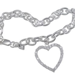 Sterling Silver 22mm White Cubic Zirconia Heart On Solid Oval Link Bracelet 19cm