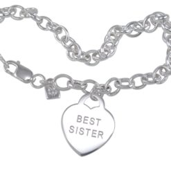 Sterling Silver 18mm *best Sister* Heart On Belcher Bracelet 19cm