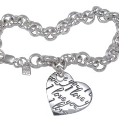 Sterling Silver 22mm *i Love You* Heart On 8mm Belcher Bracelet 19cm