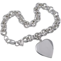 Sterling Silver 20x18mm Heart On 8mm Belcher Bracelet 19cm