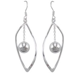 Sterling Silver 35x15mm Twisted And Dangling Ball Drop Earrings