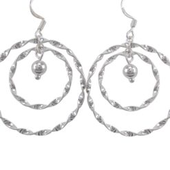 Sterling Silver 32mm Double Twisted Circle And Dangling Ball Drop Earrings