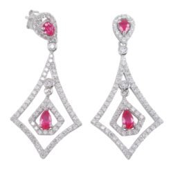 Sterling Silver 41x19mm Micro Set Red & White Cubic Zirconia Kite Shape Stud Earrings