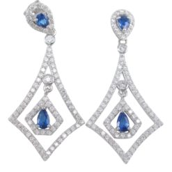 Sterling Silver 41x19mm Micro Set Blue & White Cubic Zirconia Kite Shape Stud Earrings