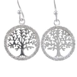 Sterling Silver 16mm White Cubic Zirconia Tree Of Life Drop Earrings