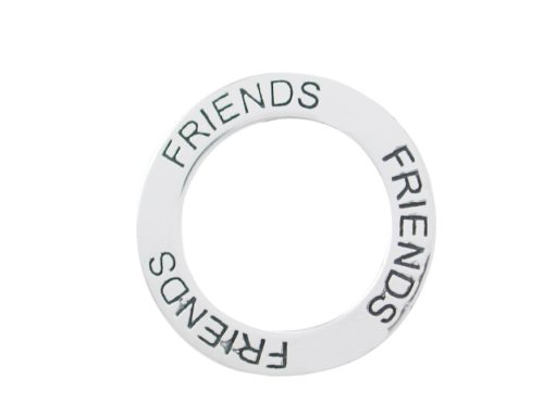 Sterling Silver 22mm *friends* Circle Pendant