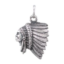 Sterling Silver 20x18mm Oxidised Indian Head Dress Pendant
