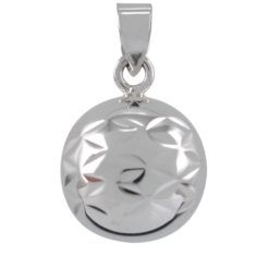 Sterling Silver 19mm Harmony (musical) Diamond Cut Pattern Ball Pendant