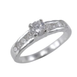 Sterling Silver 4mm Round White Cubic Zirconia Ring