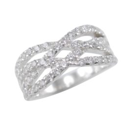 Sterling Silver 8mm Micro Set White Cubic Zirconia Crossover Ring