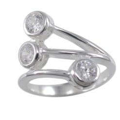 Sterling Silver 18mm White Cubic Zirconia Crossover Ring
