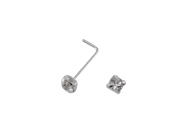 Sterling Silver Nose Stud Bent 2.5mm Claw Set White Cubic Zirconia