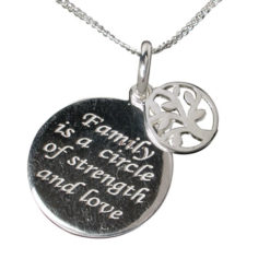 Sterling Silver 16x16mm Round Family Necklet 40-45cm