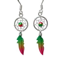 Sterling Silver 28x12mm Coloured Anodised Single Feather Dream Catcher Drop Earrings
