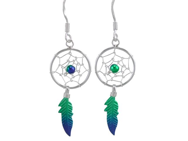 Sterling Silver 32x14mm Green & Blue Anodised Single Feather Dream Catcher Drop Earrings