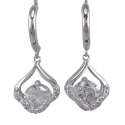 Sterling Silver 29x13mm White Cubic Zirconia Stud Earrings