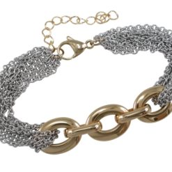 Stainless Steel & Gold Ip Link Bracelet 20-23cm