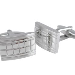 Stainless Steel 20x12mm Square Pattern Cuff Links