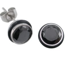 Stainless Steel 8mm Black Cubic Zirconia Bezel & Black Rim Stud Earrings